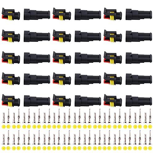 GTIWUNG 15 juegos Conector Electrico Impermeable, Impermeable Conector Enchufe, Impermeable Conector Enchufe para Coche Camión Automático, 2 Pines Clavija Conector, Conectores Estancos