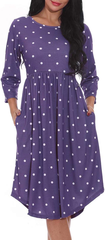 Chvity Women 3 4 Sleeve Pleated Polka Dot Loose Swing Midi Dress Empire Waist Casual Dress with Pocket
