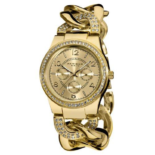 Akribos XXIV Akribos GMT Multifunción Dorado Damas Reloj AK558YG