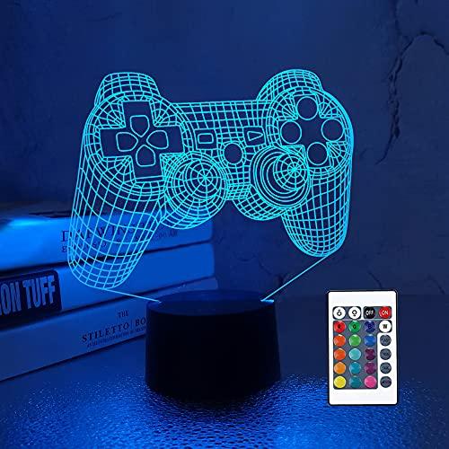 CooPark 3D Game Controller Lampe Nachtlicht 3D Illusionslampe für Kinder, 16 Farben ändern sich mit Fernbedienung, Kinderzimmer Dekor als Weihnachtsfeiertag Geburtstagsgeschenke für Jungen und Mädchen