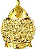 Presenta Sataanreaper Latón Decorativo Oval Soporte En Forma De Luz del Té De La Lámpara De Aceite De Cristal Linterna, Akhand Diya (4,5-Pulgadas, Oro Y Negro) # Sr-634
