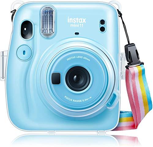 CaseBot Tasche fur Fujifilm Instax Mini 11 Sofortbildkamera Transparent Hart PVC Schutzhulle Reise Kameratasche Hulle Abdeckung mit abnehmbaren Riemen Crystal Clear