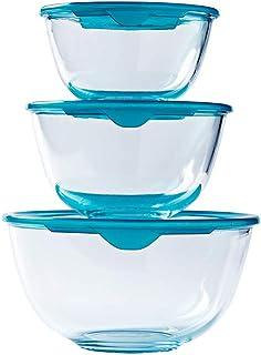 Duralex 525097 Stackable Service de 5 saladiers Ronds avec Couvercle Bleu Lys-diam/ètre 12//14 17//20,5//23 cm Transparent
