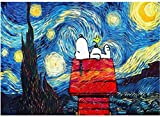 forihifngjnjyhk Rompecabezas, Jigsaw Puzzle 1000 Piece for Adults Puzzle 3D Wooden Classic Puzzle Snoopy Under The Stars Landscape DIY Collectibles Modern Home Decoration