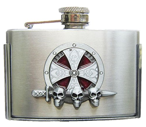 Cross Celtic Knot Three Ounce Stainless Steel Flask Belt Buckle US Stock