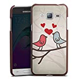 DeinDesign Cover kompatibel mit Samsung Galaxy J3 Duos 2016 Lederhülle braun Leder Hülle Leder Handyhülle Herz Heart Bird