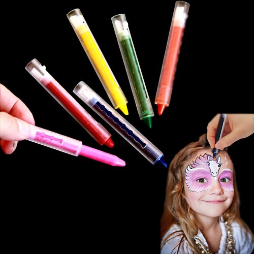 Face Paint Crayons 6 Multicolored Body and Face Crayon Sticks Party Birthday Holiday Makeup Painting Kit 6 Color Assortment Pack Non Toxic Safe For Kids