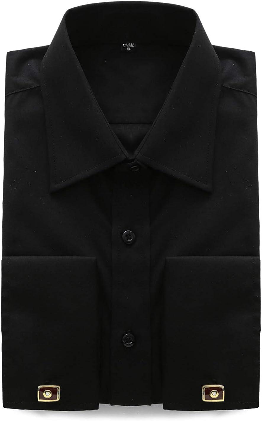 Jandukar Men's French Cuff Sold Long Sleeve Dress Shirts (Cufflink Included)