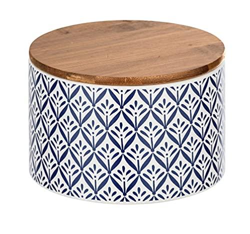 WENKO Aufbewahrungsdose Lorca, 0,75 l, Vorratsdose, Frischhaltedose mit Bambusdeckel und Silikonring zur luftdichten & aromafrischen Aufbewahrung, aus hochwertiger Keramik, Ø 14 x 9,5 cm, Mehrfarbig