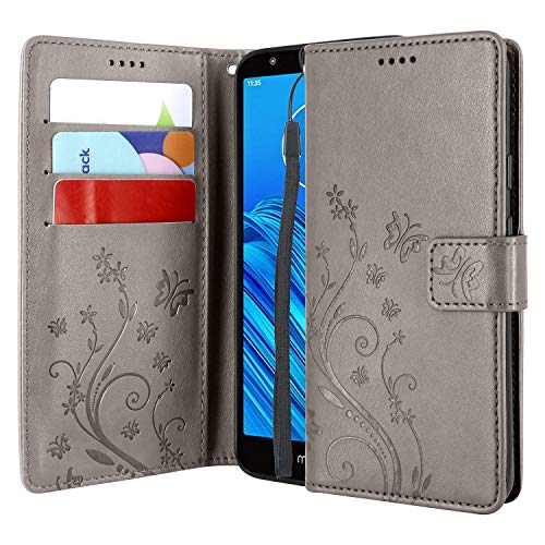 Lacass Floral Butterfly PU Leather Flip Wallet Case Cover Kickstand with Card Slots and Wrist Strap for Motorola Moto E6 2019 Case (Gray)
