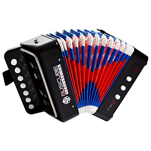 MUSICUBE Kids Accordion Instrument Toys 10 Keys Button Small Accordion for Boys & Girls Educational Musical Instrument Toys Christmas Gift Choice (BLACK)