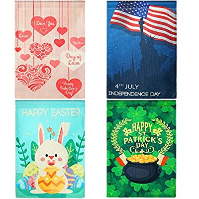4 Pieces Holiday Garden Flag Double Sided Burlap Seasonal Flags Vertical Welcome Outdoor Flag for Valentine's Day St. Patrick's Easter Independence Day Holiday Decorations, 12 x 18 Inch