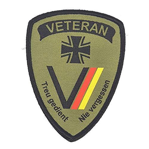 Generisch 1 x Deutschland Veteran treu gedient Tarngrün Oliv Aufnäher Militär Bundeswehr Armee Fahne Flagge