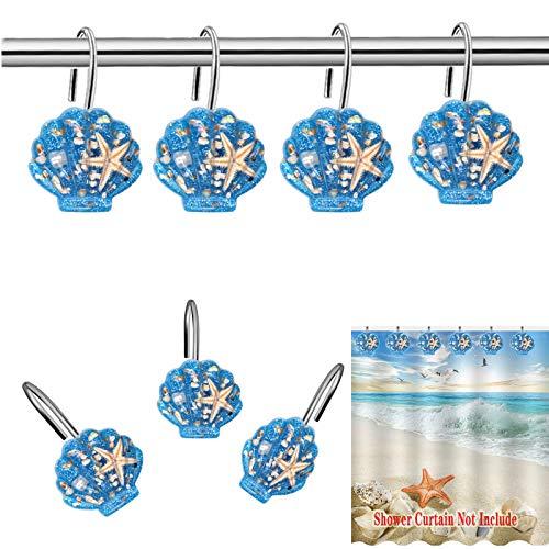 CandyGrid Seashell Shower Curtain Hooks, Beach Shower Curtain Hooks, Blue Shower Curtain Hooks, Ocean Themed Seashell Shower Curtain Hooks, 12 PCS (Blue Seashell + Pearl + Star Fish)