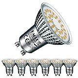 EACLL Bombillas LED GU10 2700K 6W Blanco Cálido Fuente de Luz 605 Lúmenes Equivalente 55W Halógena Lámpara. AC 230V Sin Parpadeo Focos, 120 ° Blanca Cálida Reflectoras Spotlight, 6 Pack