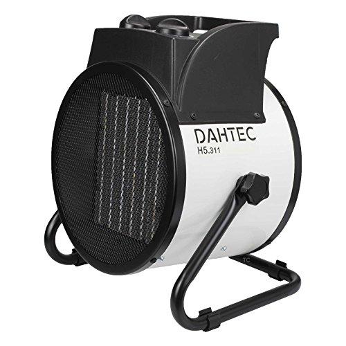 DAHTEC - H5.311 - Calefactor ventilador eléctrico cerámica 5kW 5000 vatios - 3 funciones ajustables, termostato regulable, 400 V - para el hogar, apartamento, oficina, taller, camping, garaje