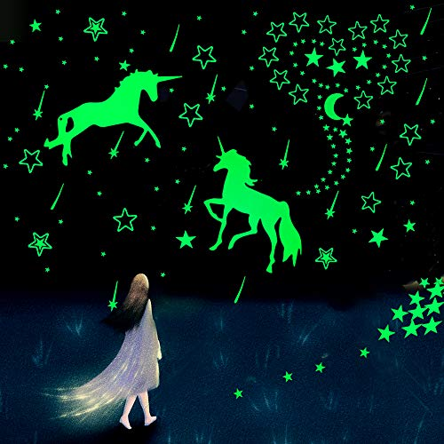 Glow in The Dark Unicorn Wall Decals, Star Ceiling Stickers for Kids Room, DIY Glow in The Dark...
