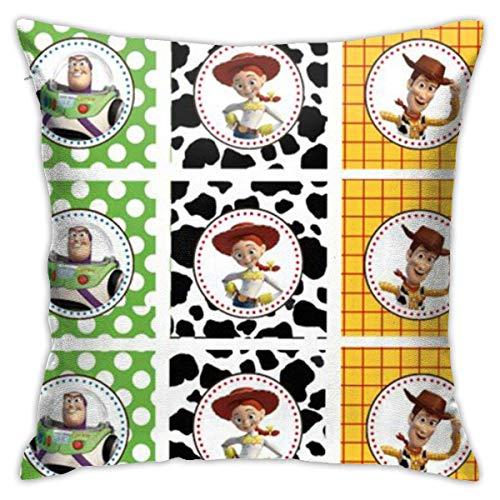 N\A Toy Story Characte Throw Pillow Covers Funda de cojín Decorativa de Forma Cuadrada para sofá Juego de Almohadas para sofá