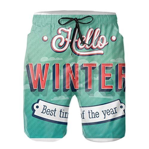 Asolliy Hello Best Winter Swim Trunks Board Shorts Quick Dry Beachwear Bathing Suits for Men