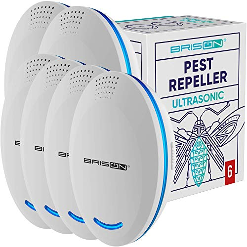 BRISON [6-Pack] Ultrasonic Pest Repeller Plug-in Control Electronic Insect Repellent Gets Rid Mosquito Bed Bugs Roach Spiders Fleas Mice Ants Fruit Fly