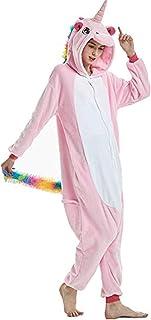 PULUMU Unisex Adult Unicorn Costume One Piece Animal Pajamas Halloween Cosplay Costumes Party Jumpsuits Carnival Novelty Sleepsuits