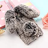 For iPhone 7 Case 3D Cute Rabbit Hairy Warm Fur Bling Rhinestone Plush Bunny Case Cover for iPhone XS 4 4S 5 5S SE 5C 6 6S 8Plus - (Color: dark gray, Material: for iPhone X) -  OTADO