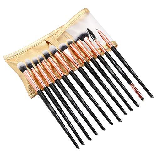 Yanten Pinceaux de Maquillage, 12pcs Pro Set cosmétique Brosses, Yeux Cils Ombre cosmétiques Stylos w/Sac (Noir)