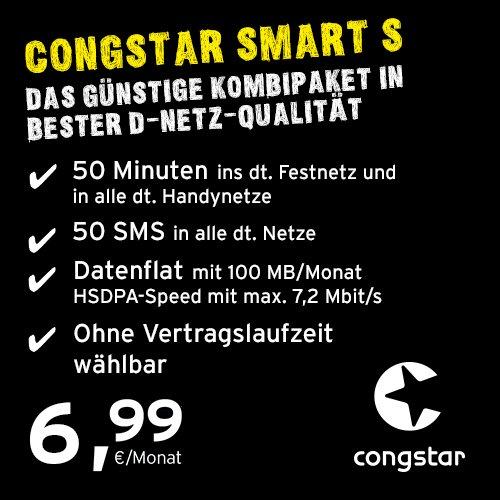 congstar Smart S [SIM y Micro SIM] Anuncio mensual (6,99 Euros Mes, 100 MB Flat de Datos con máx. 7,2 Mbit s, 50 Minutos Libres, 50 SMS, 9 CT por min SMS) en Calidad de Red D.
