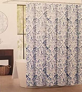 Tahari Imperial Damask Luxury Fabric Shower Curtain Blue and Gray on White 72  x 72
