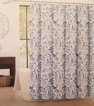 "Tahari Imperial Damask Luxury Fabric Shower Curtain Blue and Gray on White 72"" x 72"""