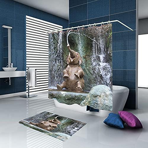 Juego De Accesorios De Baño De 2 Piezas, Impermeable Cortina De Ducha 180 x 180 cm, Alfombra 60 x 40 cm, 12 Ganchos, Elefante Salpica Agua