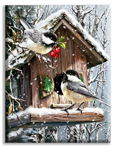 TRJGDCP Kreuzstich-Stickerei-Set, 14-fädig, Vogelhaus, Baumwollgarn, Malerei, DIY-Handarbeit, Heimdekoration (Farbe: 2, Größe: 14 ct)