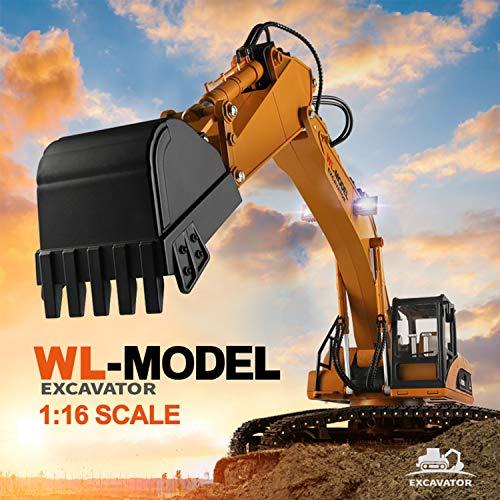 Leeofty 16800 1:16 Excavadora de Control Remoto eléctrica Camión de Juguete RC Tractor de construcción Luz Sonido No tóxico Humo RC Coche para niños Niñas Adultos