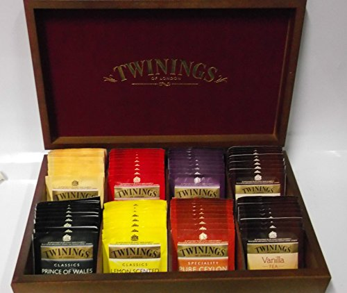 SCATOLA BOX REGALO IN LEGNO TÈ TWININGS ASSORTITI BREAKFAST GREY CEYLON 80 b