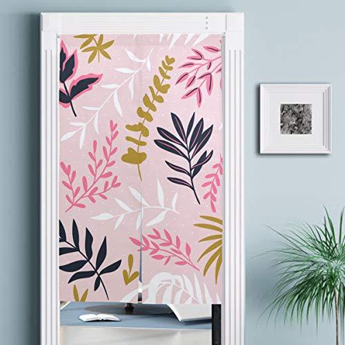 JISMUCI Vorhänge für Türen,Hand gezeichnete Nahtlose Muster Tropische Blätter,Türvorhang Für die Küche Wohnzimmer Schlafzimmer