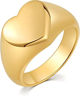 HZMAN Vintage Stainless Steel Love Heart Promise Statement Cocktail Party Ring For Women Size 6-10