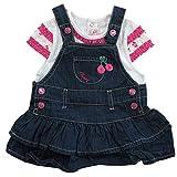 Mayoral Mädchen Baby Set 2 Teile Jeans-Kleid & T-Shirt Kirschen, Rosa-Blau-Weiß, Gr. 68 (68)