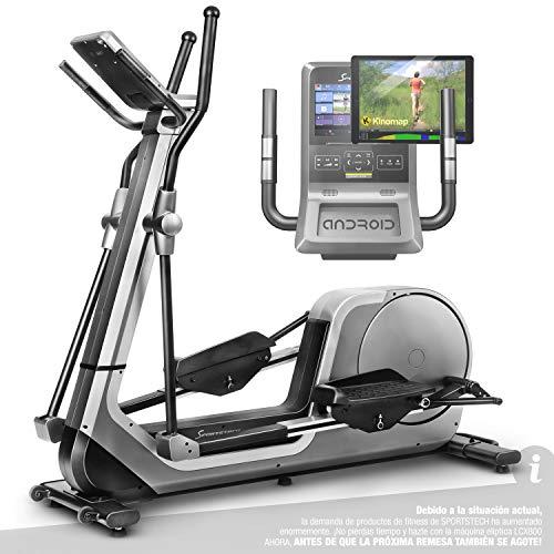 Sportstech Premium Bicicleta elíptica para Casa | Marca Alemana de Calidad | Eventos en Directo, App Multijugador & Consola Android | Elíptica para casa LCX800 | 12 programas & HRC-Mode - Volante 24Kg