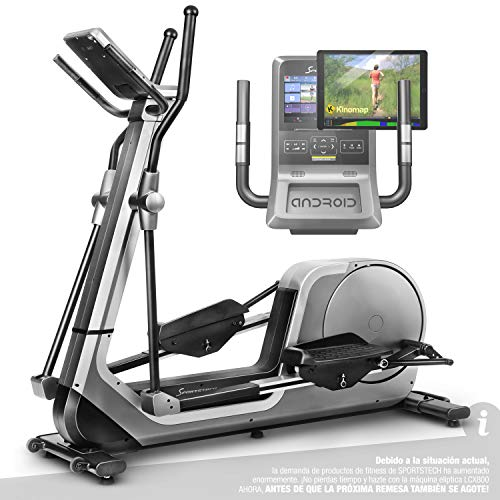 Sportstech Bicicleta elíptica LCX800, Luxus Pantalla Android Multifuncional, Volante 24Kg, App Smartphone,Bluetooth,Compatible...