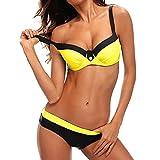 Bikini Mujer Push-up con Relleno Grueso con Acero Acolchado Bra Trajes de baño Dos Piezas Color Vario con Talla Grande Amarillo XX-Large