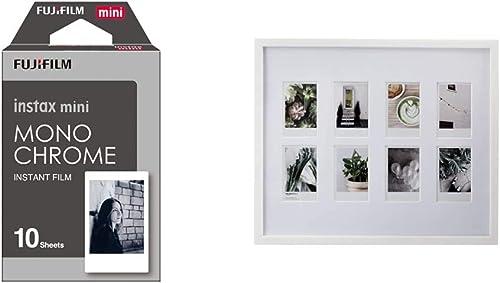 instax Monochrome Mini Film, 10 Shot Pack & Amazon Basics Photo Frame for use with Instax - 8-Opening - 8 x 5 cm, White