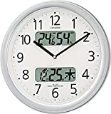 CITIZEN シチズン 掛け時計 電波時計 温度・湿度計付き ネムリーナカレンダー M01 シルバー 32.5×32.5×5.0cm 4FYA01-019