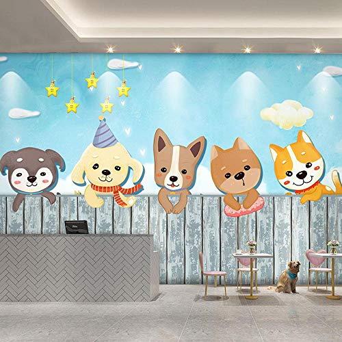 YBSBH Papel Tapiz 3D Fondo Autoadhesivo (W) 350X (H) 256Cm Foto Cartoon Pet Shop Cute Cartoon Dog 3D Mural Arte De La Pared Decoración Niños Dormitorio Chica Habitación Kindergarten Sala De Estar