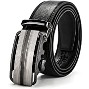MUCO Herren Ledergürtel, echtes Leder, schwarz, Gürtel kürzbar mit Automatikschnalle in hochwertiger Zinklegierung, 3,5cm Breite