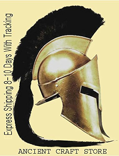 Affordable 300 King Spartan Helmet With Black Plume (free Display Stand, Liner and Strap) by ancient...