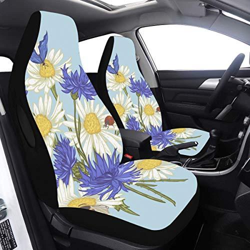 2 Pcs Set Housses Voitures Floral Summer Bee Butterfly Housses de Siège Colorées Compatible pour Airbags Universal Fit pour Voitures Camions et SUV Housses de Siège De Voiture