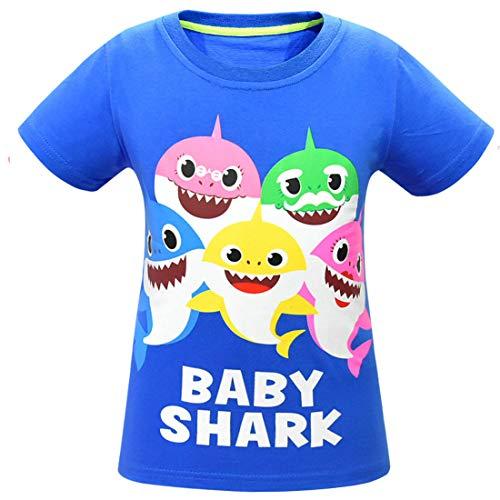 Niños Niñas Bebé Tiburón Doo Doo Familia Que Empareja Camisetas Divertidas (azul1, 100 (2-3 años))
