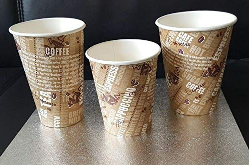 1000 X Paper Cups Disposable with Coffee Tea Printed in Size 8oz, 10oz and 12oz (10oz (300ml))