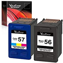 Valuetoner Remanufactured Ink Cartridges for HP 56 & 57 C9321BN C6656AN C6657AN for Deskjet 5650 5550 5150, Photosmart 7350 7260 7450 7550 7760, PSC 2210 Printer (1 Black, 1 Tri-Color, 2 Pack)