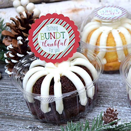 """Nothing Bundt Thankful Christmas Appreciation Thank You Sticker Labels, 40 2"""" Party Circle Stickers by AmandaCreation, Great for Party Favors, Envelope Seals & Goodie Bags"""